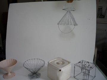 work in progress, wire filter and pot with original